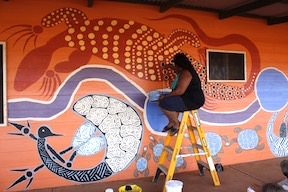 Wiluna Sport & Recreation Centre artist at work